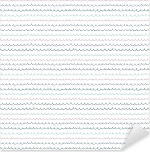 Sticker Pixerstick Modèle vectorielle continue dessiné main mignon avec des vagues de l'océan, sur un fond blanc. style design scandinave. concept pour l'été, plage, impression textile pour enfants, papier peint, papier d'emballage.