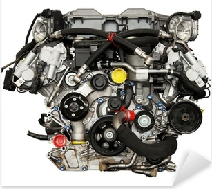Modern powerful cars engine. Clipping path included. Pixerstick Sticker