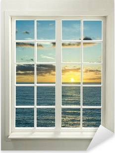 Modern residential window with sunset over sea and clouds Pixerstick Sticker