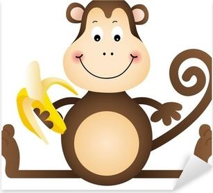 Sticker Pixerstick Monkey banana manger