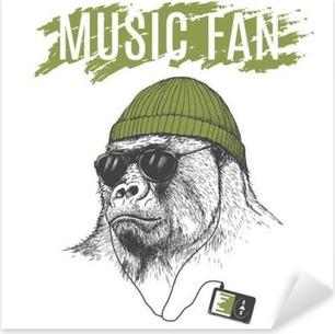 Pixerstick Sticker Monkey luisteren naar muziek op de koptelefoon