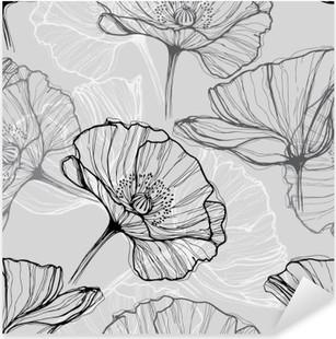 Pixerstick Sticker Monochrome naadloze patroon met klaprozen. Met de hand getekende bloemen achtergrond