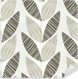 Sticker Pixerstick Monochrome seamless pattern de feuilles abstraites.