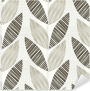 Monochrome seamless pattern of abstract leaves. Pixerstick Sticker