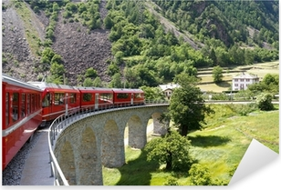 Sticker Pixerstick Montagne suisse train Bernina Express