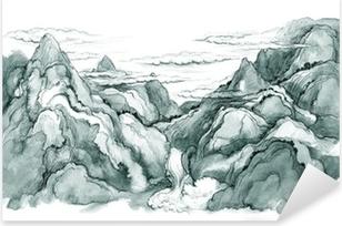 Sticker Pixerstick Montagnes japonaises