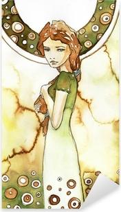 Pixerstick Sticker Mooi meisje in het groen Art Nouveau