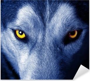 Pixerstick Sticker Mooie ogen van een wilde wolf.