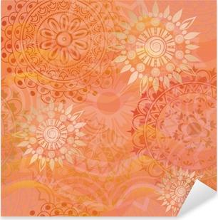Pixerstick Sticker Mooie textuur met ornamenten in warme kleuren