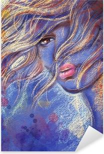 Pixerstick Sticker Mooie vrouw. aquarel illustratie