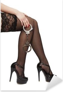 Pixerstick Sticker Mooie vrouw benen in hoge hakken en handboeien