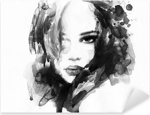 Pixerstick Sticker Mooie vrouw gezicht. aquarel illustratie
