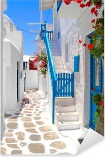Pixerstick Sticker Mooie witte straten van Mykonos, Griekenland