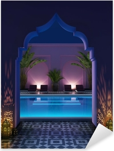 Moroccan riad courtyard with a swimming pool Pixerstick Sticker