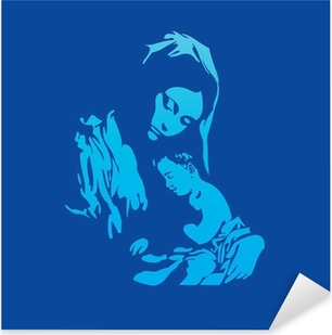 Mother Mary with Jesus Christ in blue Pixerstick Sticker