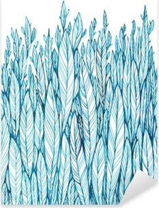 Sticker Pixerstick Motif bleu feuilles, herbe, plumes, dessin à l'encre d'aquarelle