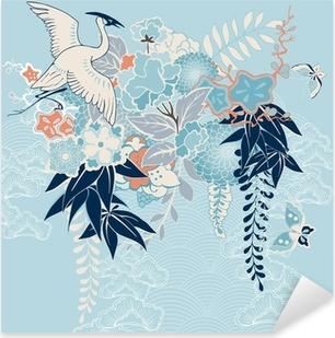 Sticker Pixerstick Motif de kimono japonais avec des grues et des fleurs