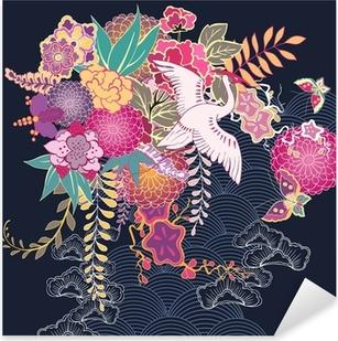 Sticker Pixerstick Motif floral décoratif kimono