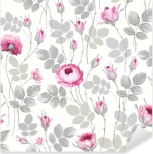 Sticker Pixerstick Motif floral sans couture avec des roses dans des couleurs pastel