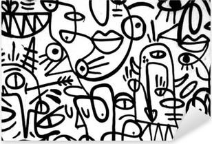 Sticker Pixerstick Motif graffiti noir et blanc sur le mur.Espagne, jerez, janvier 2018.intéressant fond
