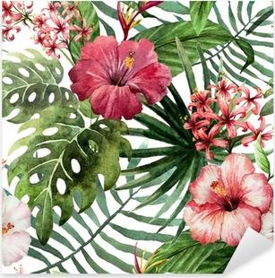 Sticker Pixerstick Motif orchidée hibiscus feuilles tropiques aquarelle