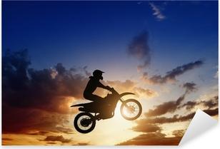 Motorcircle rider silhouette Pixerstick Sticker