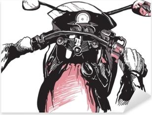 Pixerstick Sticker Motorfiets sturen, achter de fiets. snelle machine rijden. hand getrokken vectorillustratie - geïsoleerd op wit. uit de vrije hand schetsen.