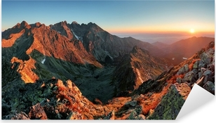 Mountain sunset panorama from peak - Slovakia Tatras Pixerstick Sticker