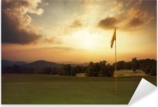 Pixerstick Sticker Mountain zonsopgang bij de golfbaan