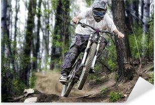 Mountainbiker in the forest Pixerstick Sticker
