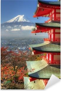 Sticker Pixerstick Mt. Fuji et feuilles d'automne à Arakura Sengen Shrine au Japon