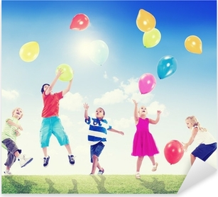 Multi-Ethnic Children Outdoors Playing With Balloons Pixerstick Sticker
