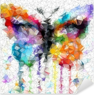multicolor bright butterfly abstract geometric background Pixerstick Sticker