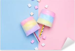 Multicolored Cotton candy. Pastel marshmallows. Minimal style. Pastel background Pixerstick Sticker