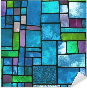 Multicolored stained blue glass window, square format Pixerstick Sticker