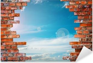 Sticker Pixerstick Mur de briques avec le trou