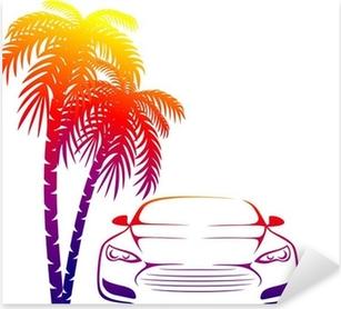 muscle car near the palm Pixerstick Sticker