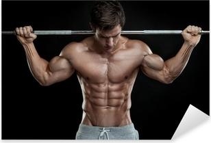 Sticker Pixerstick Musculaire culturiste gars faire des exercices avec des haltères sur bla