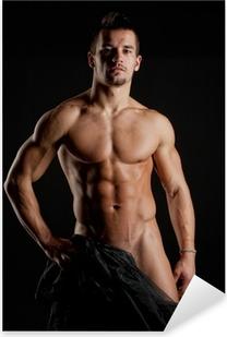 Sticker Pixerstick Musculaire jeune homme nu sexy enveloppée dans la soie