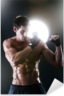 Muscular sports guy with a naked torso boxing Pixerstick Sticker