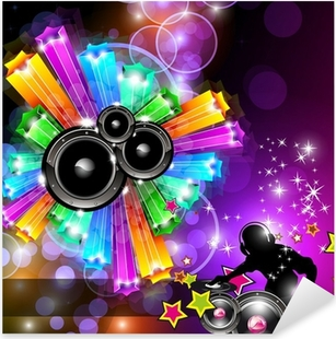 Music Disco Flyer for Dancing Events Pixerstick Sticker