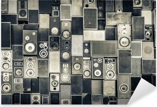 Pixerstick Sticker Muziek speakers aan de muur in zwart-wit vintage stijl