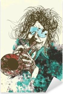 Pixerstick Sticker Muzikant, trompettist. Hand tekening in vector