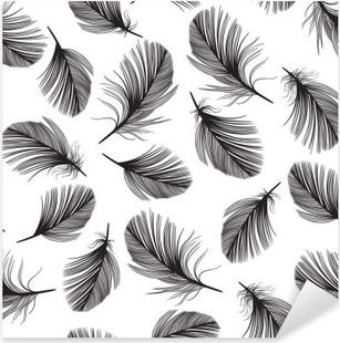 Pixerstick Sticker Naadloos patroon met de hand getekende veren.