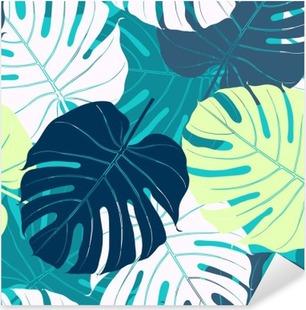Pixerstick Sticker Naadloos patroon met palmbladeren