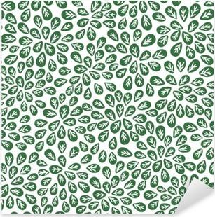 Pixerstick Sticker Naadloze abstracte groene bladeren patroon, loof vector