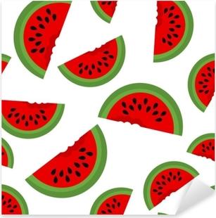Pixerstick Sticker Naadloze achtergrond met watermeloen plakjes. vectorillustratie ontwerp voor de wenskaart en uitnodiging voor seizoensgebonden zomervakantie