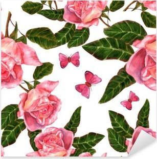 Pixerstick Sticker Naadloze achtergrond patroon met vintage stijl aquarel rozen