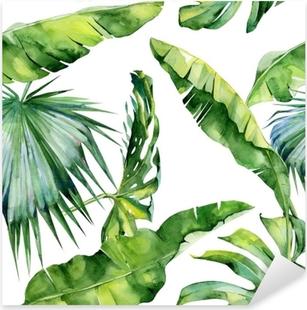 Pixerstick Sticker Naadloze aquarel illustratie van tropische bladeren, dichte jungle. Patroon met tropisch zomermotief kan gebruikt worden als achtergrondtextuur, verpakkingspapier, textiel, behangontwerp.