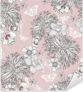Pixerstick Sticker Naadloze bloemmotief. Achtergrond met bloemen en vlinders